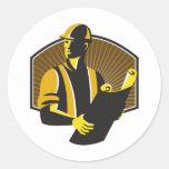 Construction Engineer Worker Building Plan Retro Stickers
