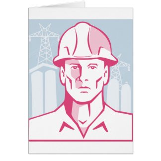 Construction Engineer Worker Hardhat Card