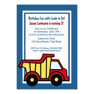 Construction Fun Birthday Dump Truck 13 Cm X 18 Cm Invitation Card