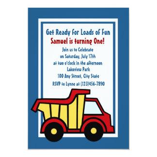 Construction Fun Dump Truck 13 Cm X 18 Cm Invitation Card