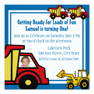 Construction Fun Dump truck Photo 13 Cm X 13 Cm Square Invitation Card