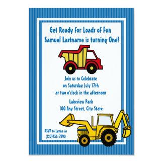 Construction Fun Dump truck Photo 13 Cm X 18 Cm Invitation Card