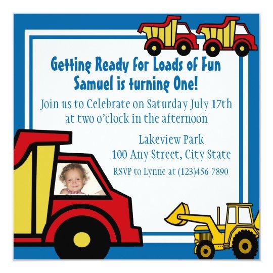 Construction Fun Dump truck Photo Card