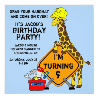 Construction Giraffe Birthday Card