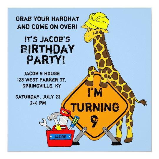 construction giraffe birthday invitation zazzle co uk