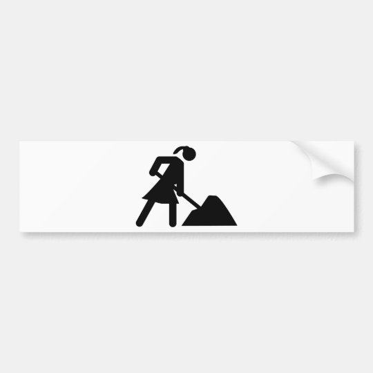 construction girl sign bumper sticker
