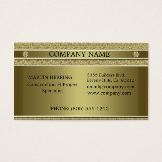 Construction Gold Metal Embossed Business Card