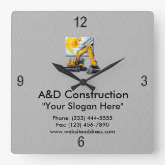 Construction Gray with Backhoe Wall Clock
