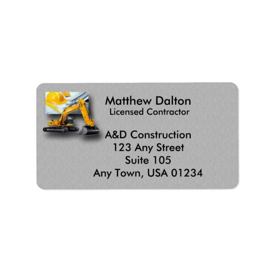 Construction Grey with Backhoe Address Labels