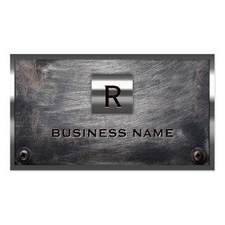 Construction Grunge Steel Monogram Metal Framed Pack Of Standard Business Cards