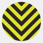 Construction Hazard Stripes Round Stickers
