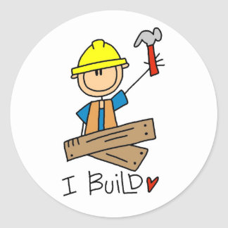 Construction I Build T-shirts and Gifts Classic Round Sticker