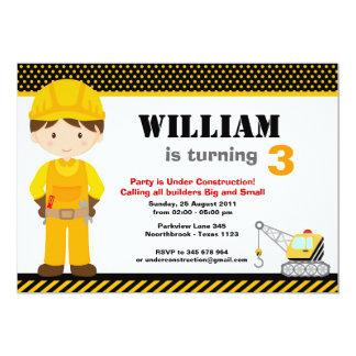 Construction Kids Birthday Party Custom Invites