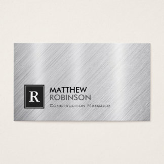 Construction Manager - Brushed Metal Monogram Business Card