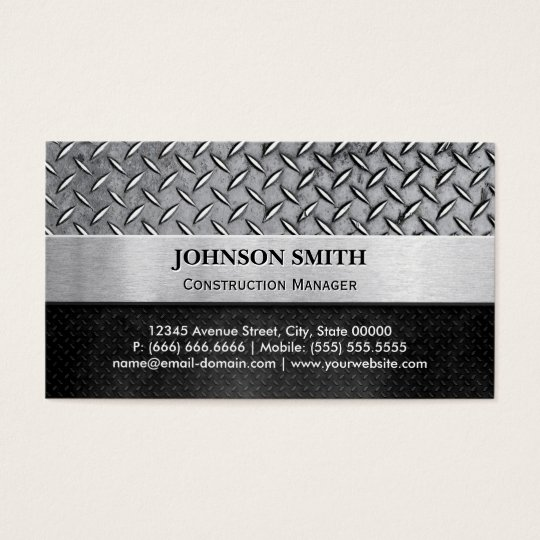 Construction Manager - Diamond Metal Plate Business Card