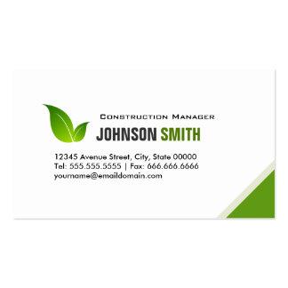 Construction Manager - Elegant Modern Green Business Cards