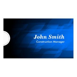 Construction Manager - Modern Dark Blue Business Cards