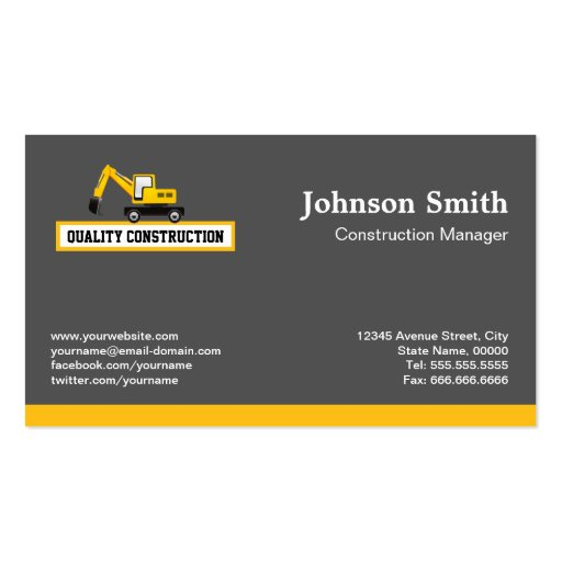 construction manager yellow excavator business card