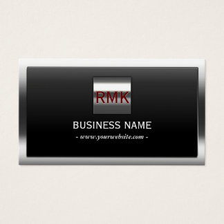Construction Metal Border Monogram Modern Business Card