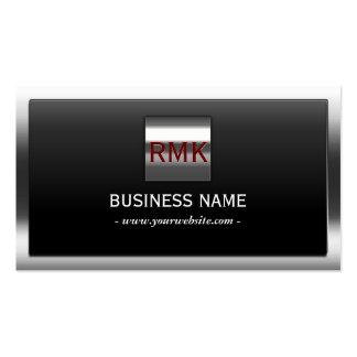 Construction Metal Border Monogram Modern Pack Of Standard Business Cards