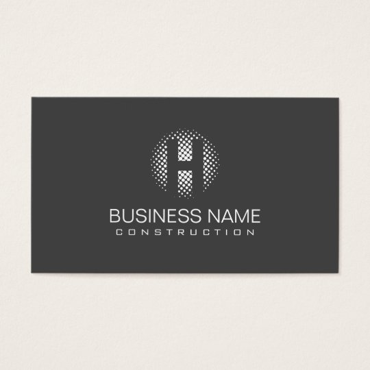 Construction Modern Grey Monogram Professional Business Card