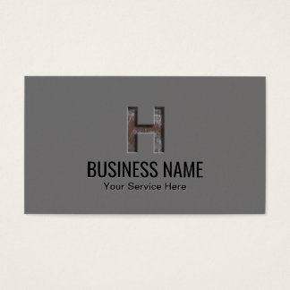 """Construction Monogram Initial """"H"""" Professional Business Card"""