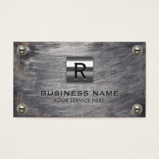 Construction Monogram Professional Grunge Metal Business Card