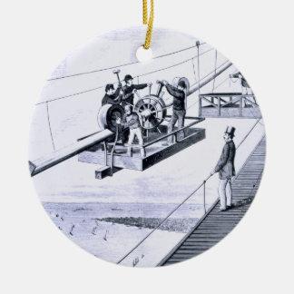 Construction of Brooklyn Bridge, New York (litho) Christmas Ornament