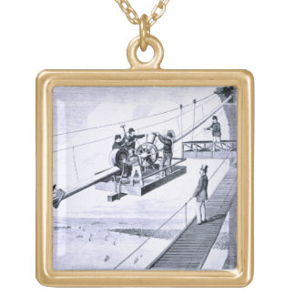 Construction of Brooklyn Bridge, New York (litho) Gold Plated Necklace