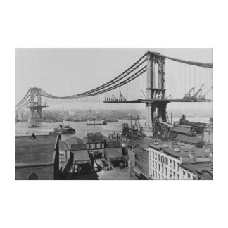 Construction of the Manhattan Bridge March 23 1909 Stretched Canvas Print