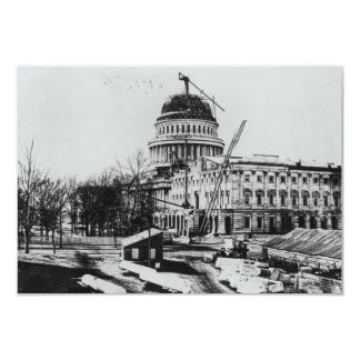 "Construction of the U.S. Capitol Dome 3.5"" X 5"" Invitation Card"