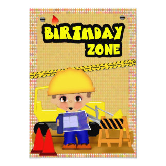 Construction Party 13 Cm X 18 Cm Invitation Card
