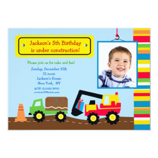 Construction Photo Birthday Party Invitation