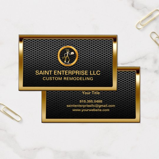 Construction Remodeling Custom Gold Logo Metallic Business Card