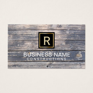 Construction & Repair Monogram Vintage Wood Business Card