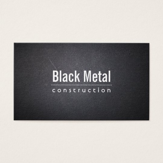Construction Simple Dark Leather Bold Text Business Card