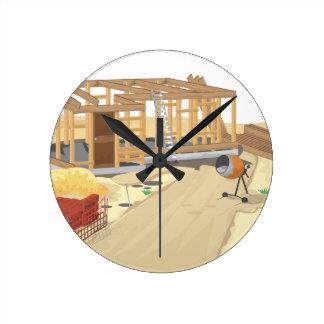 Construction Site Round Clocks
