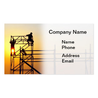 Construction Site with Workers at Sunset Business Card Template