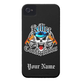 Construction Skull with Blue Hard Hat iPhone 4 Case-Mate Case