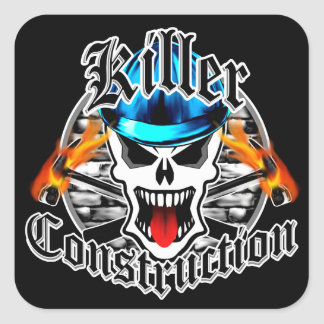 Construction Skull with Blue Hard Hat Square Sticker