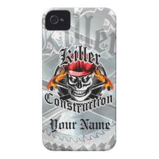 Construction Skull With Red Hard Hat iPhone 4 Case-Mate Cases