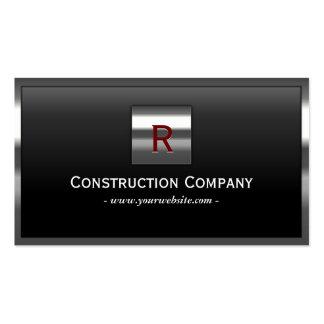 Construction Steel Border Monogram Professional Pack Of Standard Business Cards