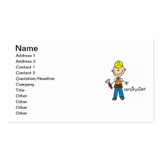 Construction Stick Figure Business Cards