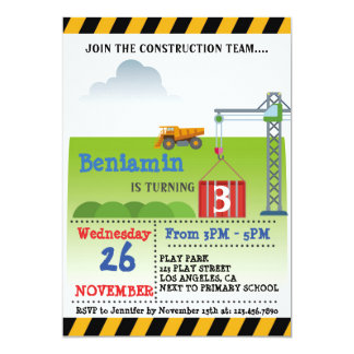 CONSTRUCTION TEAM BIRTHDAY PARTY INVITATION