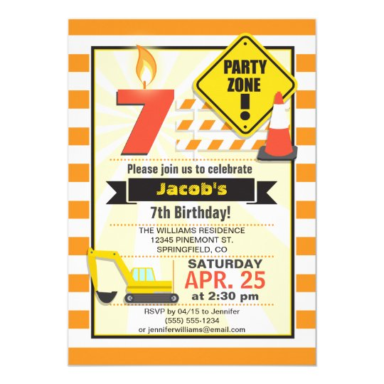 Construction Theme Kid's Birthday Party Invitation