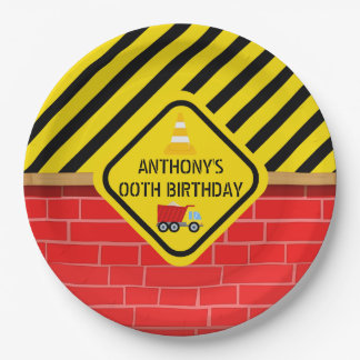 Construction Themed Birthday Party any age Paper Plate