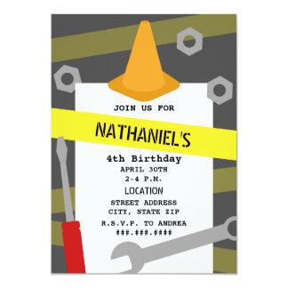 Construction Tools Orange Cone Birthday Party 13 Cm X 18 Cm Invitation Card