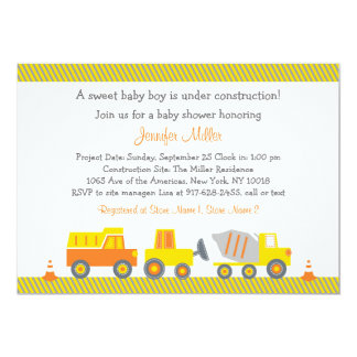 Construction Truck Baby Shower Invitations