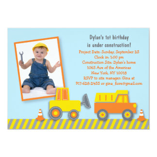 Construction Truck Birthday Invitation