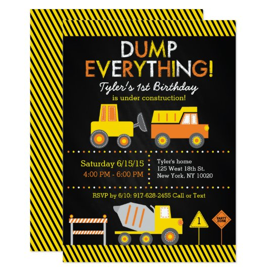 Construction Truck Chalkboard 1st Birthday Card